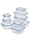 Glas-Frischhaltedosen 18 Stück [9 Behälter + 9 Deckel] - Glasbehälter - Transparente Deckel - BPA frei - für Home Küche oder Res