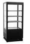 Kühlvitrine schwarz Kuchenvitrine Gastro - 80 Liter - R600A - 4-Seitig Doppelverglast